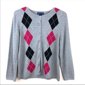 Karen Scott Gray Argyle Cardigan Sweater